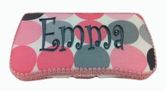 Pink and gray dots are cool on baby girl's wipe case. Personalized and pretty for Mom to carry in her diaper bag or purse. $38.95