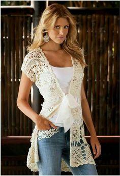 Saco largo crochet. Soo cute!! - S
