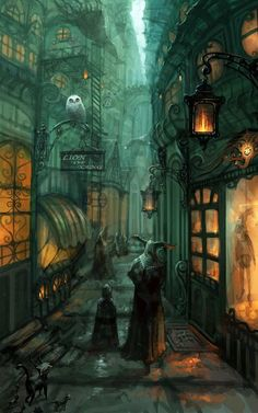 Street alley by ~ZERG118 on deviantART  this is kindof Harry Potter-ish, but still a little spooky...love it