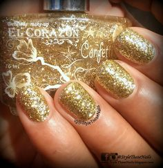 Style Those Nails: Golden Glitter Party Nails - El CorazonNo.530 Swatch and Review