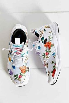 Bright White Reebok Summer Inspired Sneakers With Cool Multicoloured Floral Embroidery