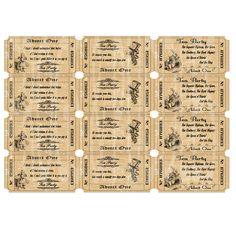 Instant Download DIY Alice in Wonderland Tea Party Tickets