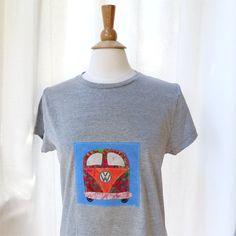 Tshirt womens slim fit grey gray applique VW kombi by BoosTees, $18.00