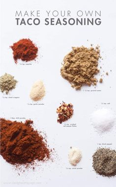 Homemade Taco Seasoning- easier than making sure you remembered to pick up a pre-mixed seasoning packet! I usually abbreviate the recipe to just salt, cumin, and chili powder because I'm lazy lol Mexican Food Recipes, Dinner Recipes, Do It Yourself Food, Homemade Taco Seasoning, Seasoning Mixes, Delicious Restaurant, Comida Latina, Cooking Recipes, Healthy Recipes