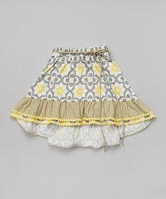 This Trish Scully Child Yellow & Gray Floral Hi-Low Skirt - Infant, Toddler & Girls by Trish Scully Child is perfect! #zulilyfinds
