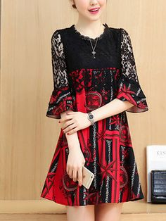 Red and Black Shift Above Knee Plus Size Lace Dress for Casual Office Evening Party