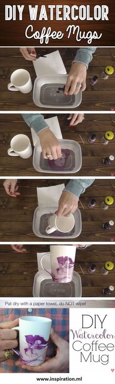 Kaffeetasse selber machen!   Ganz leicht Weihnachtsgeschenk selbst gemacht  DIY Watercolor Kaffeebecher