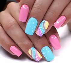 Try some of these designs and give your nails a quick makeover, gallery of unique nail art designs for any season. The best images and creative ideas for your nails. Popular Nail Designs, Best Nail Art Designs, Newest Nail Designs, Bright Nail Designs, Cute Nails, My Nails, Nail Art Design Gallery, Easter Nail Designs, Summer Nail Designs