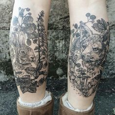 NATURALISTIC TATTOOS RESEMBLE VINTAGE ETCHINGS  Artist Pony Reinhardt transports us to the woods with her naturalistic tattoos. The monochromatic line drawings feature animals, flowers, and even fungi, stitched together in sprawling scenes that highlight the Earth's beauty.