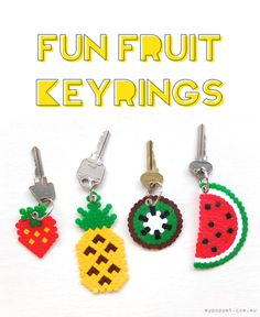 DIY hama perler beads fruit keyring pineapple watermelon kiwi strawberry kawaii gift craft