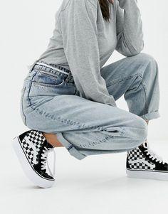 b5068d5ae958 Vans Black Checkerboard Platform Sk8-Hi Sneakers