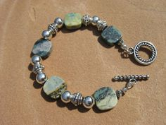 Jasper and Silver Bracelet by fleurdesignz on Etsy, $18.00