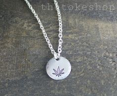 Cannabis Leaf Hand Stamped Aluminum Disc Necklace by The Toke Shop, cannabis, marijuana, weed jewelry $10