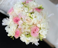 Bouquet made with soft and elegant combination of hydrangea, garden roses, peonies and freesia. Created by Event Studio.