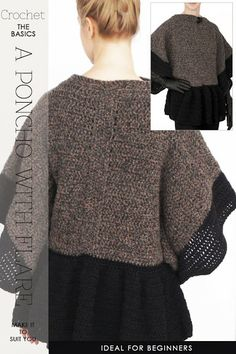 Oversized comfort! Crochet this very easy poncho with an attractive peplum | easy pattern to make to suit you | DiaryofaCreativeFanatic
