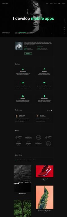 'Cvio' is a modern long-scrolling CV/Resume WordPress theme with a lovely dark color scheme. The theme has a bunch of sections to add and remove but featured below is an arrangement even fit for a full online portfolio. Highlight features include an introduction full width background image with foreground typewriter effect text, CV-style bio, services, testimonial slider, client logos and a beautiful image portfolio with Lightbox browsing functionality. Portfolio Site, Online Portfolio, Fashion Cv, Web Design School, One Page Website, Website Designs, Lightbox, First Page, Typewriter