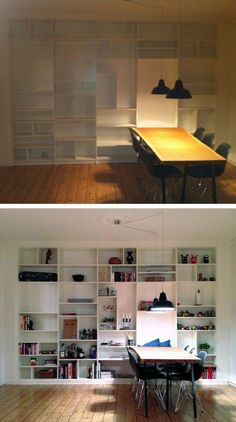 Materials: BILLY Description: From IKEA: 5 large BILLY bookcases (80x28x202 cm) and 10 BILLY top bookcases (80x28x35 cm). Removed every second vertical wall-side and drilled out holes to fit shelves/screws/etc on both sides. Put together the 5 big bookcases first, placed wires on the back before mounting it to the wall. Once stable the smaller [&hellip
