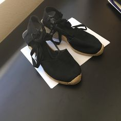 Black 3 inch Espadrilles Shoe has closed-toe front and open back. Lace low or lace them up the leg. 3 inch wedge heel. Goes great with shorts, skirts, Capri, mini and maxi dresses. Mossimo Shoes Sandals