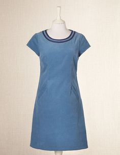 Simple corduroy shift dress with contrasting neckline detail
