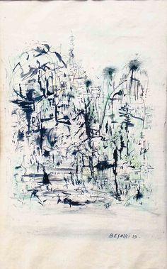 E. Besozzi pitt. 1959 Composizione china e acquerello su carta cm. 40x30  arc. 1398