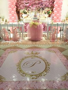A glorious Princess pink and gold Baptism/1st Birthday party! See more party ideas at CatchMyParty.com