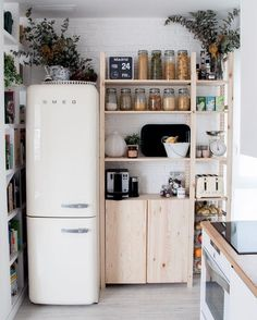 small kitchen idea fridge and shelves