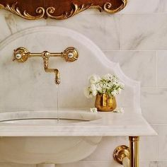 Brass Washstand with Curved Marble Backsplash