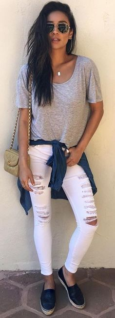 #popular #shay #mitchell #outfits |  Grey Tee + White Ripped Jeans