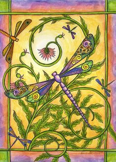 This is a print made from an original ink and watercolor painting. Size is 5 x It is printed with Epson Durabrite inks on 90 lb. Art Nouveau, Creative Haven Coloring Books, Dragonfly Decor, Bird Quilt, Art Journal Techniques, Painting Techniques, Butterfly Dragon, Watercolor And Ink, Watercolor Painting