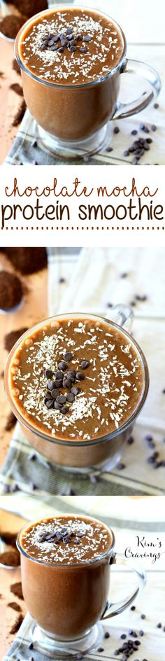 This Chocolate Mocha Protein Shake is a coffee lover's dream that will perk you up with enough caffeine to elevate your morning workout! (vegan, gluten-free and dairy-free)