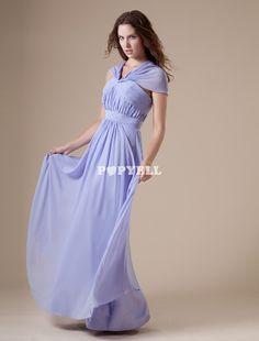 #robe #demoisellehonneur Robe demoiselle d'honneur A-ligne lilas en chiffon col V