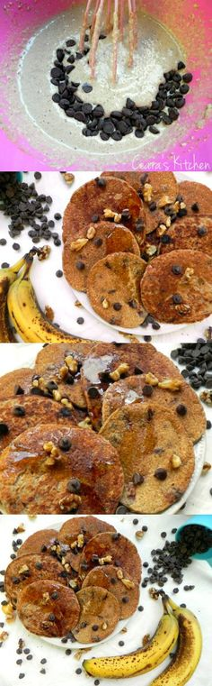 These Chocolate Chip Banana Oat Blender Pancakes are whipped up in five minutes in the blender. They are 100% flour free and are made with just oats! Fluffy, soft + hearty, they make the perfect quick, healthy morning breakfast! #VEGAN #GLUTENFREE #HEALTHY #BREAKFAST #HEALTHYBREAKFAST