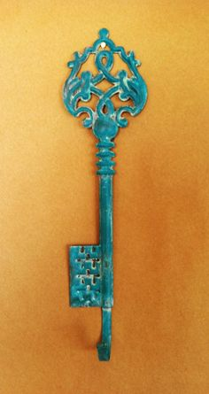 Turquoise Decorative   Key Wall Hook... cute to hang jewelry