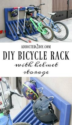 Simple DIY Kid's Bicycle Rack with Helmet Storage Keep bikes, scooters, AND helmets stored neatly with this DIY Bicycle Rack! Check out the step-by-