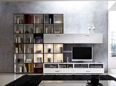 Modern Wall Storage System in White and Graphite by Linea Germania