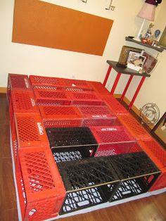Milk Crate Bed Frame Diy Storage New Ideas Diy Bedframe With Storage, Bed Frame With Storage, Diy Bed Frame, Pallet Bed Frames, Diy Pallet Bed, Wooden Crate Furniture, Milk Crate Storage, Crate Bed, Diy Bett