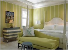 Florida Beachfront Residence - Vero Beach, USA - contemporary - bedroom - toronto - by John David Edison Interior Design Inc. Green Bedroom Design, Bedroom Green, Bedroom Colors, White Bedroom, Bedroom Wall, Lime Green Bedrooms, Tropical Bedrooms, Bedroom Designs For Couples, Bedroom Ideas