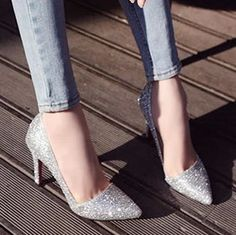 Princess fashion sexy high-heeled pointed toe thin heels single shoes Women paillette wedding Pumps