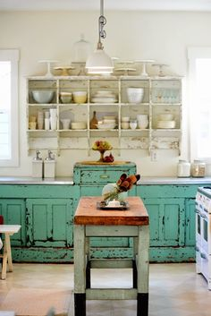 Distressed Turquoise Kitchen Cupboards