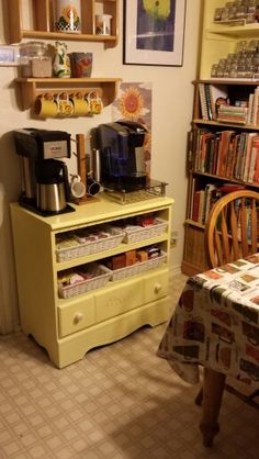 My new coffee bar, I remade a old dresser that belonged to my kids