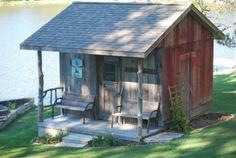 using reclaimed barn wood John built this storage shed that became a great storage spot for lake toys and playhouse for grandchildren. The siding wa orginally on a goat milk barn. Stone...