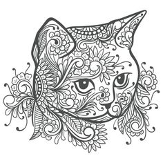 Cat Coloring Page, Colouring Pics, Animal Coloring Pages, Coloring Book Pages, Coloring Pages For Grown Ups, Cat Tattoo Designs, Printable Adult Coloring Pages, Zentangle Drawings, Cat Colors