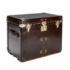 Louis Vuitton Brown Leather Shoe Locker   From a unique collection of antique and modern trunks and luggage at https://www.1stdibs.com/furniture/more-furniture-collectibles/trunks-luggage/
