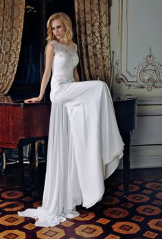 An original fit wedding dress. The attire s corset is made of chantilly with cord, the yoke — undershirt is decorated with appliques, embroidered with Swarovski crystals, marbles, and pearls. Enlarge Photos, Elegant, Formal Dresses, Wedding Dresses, Corset, White Dress, Fashion, Classy, Bride Gowns