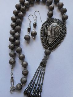 Laguna Lace Agate Beaded Pendant with Matching Earrings, Czech Glass