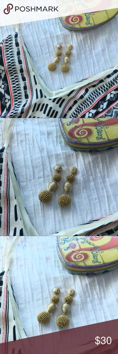 """✨JUST IN✨Crispin Drops Gold ✨JUST IN✨Crispin Drops Gold  A trio of lightweight, threaded beehives and stone- studded feel fun and fresh.    Closure: Pushback  Measurements: Length: 2.5"""" Jewelry Earrings"""