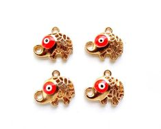 4 Gold Plated Evil Eye Elephant Charms by TreeChild1 on Etsy