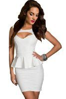 Amour- Sexy Cut Out Front Peplum Dress Gown Party Cocktail Clubwear (M, White)