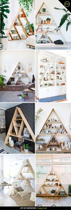 I spotted a triangle shelf on Pinterest a while back and knew I had to have one in the studio. I love that they are such a statement piece on a blank wall, prefect for displaying all my succulents and
