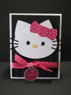 Hello Kitty by NellieKC - Cards and Paper Crafts at Splitcoaststampers - Stampin Up Punch Art hello kitty Paper Punch Art, Punch Art Cards, Girl Birthday Cards, Birthday Cards For Women, Art Birthday, Stampin Up Karten, Stampin Up Cards, Kids Cards, Baby Cards